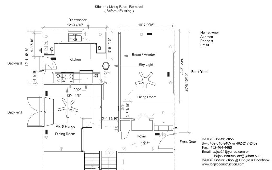 Stu & Denise Essman Kitchen-Living Room(Floor Plan)Before